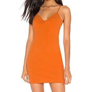 MINKPINK revolve ribbed twist front orange dress